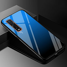 Silicone Frame Mirror Rainbow Gradient Case Cover H01 for Oppo Find X2 Pro Blue