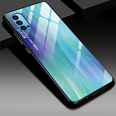 Silicone Frame Mirror Rainbow Gradient Case Cover H01 for Oppo Reno4 5G Cyan