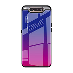 Silicone Frame Mirror Rainbow Gradient Case Cover H01 for Samsung Galaxy A80 Hot Pink