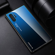 Silicone Frame Mirror Rainbow Gradient Case Cover H01 for Samsung Galaxy Note 10 Plus 5G Blue