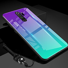 Silicone Frame Mirror Rainbow Gradient Case Cover H01 for Xiaomi Redmi Note 8 Pro Cyan