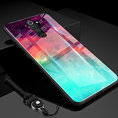 Silicone Frame Mirror Rainbow Gradient Case Cover H01 for Xiaomi Redmi Note 8 Pro Green