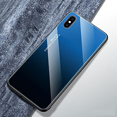 Silicone Frame Mirror Rainbow Gradient Case Cover M01 for Apple iPhone X Blue
