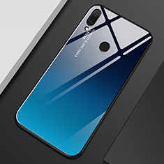 Silicone Frame Mirror Rainbow Gradient Case Cover M01 for Huawei Y9 (2019) Blue