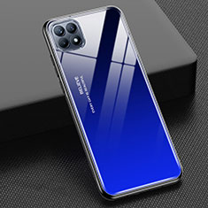 Silicone Frame Mirror Rainbow Gradient Case Cover M01 for Oppo Reno4 SE 5G Blue