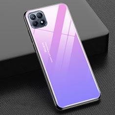 Silicone Frame Mirror Rainbow Gradient Case Cover M01 for Oppo Reno4 SE 5G Pink