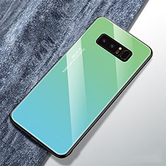Silicone Frame Mirror Rainbow Gradient Case Cover M01 for Samsung Galaxy Note 8 Cyan