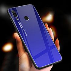 Silicone Frame Mirror Rainbow Gradient Case Cover M01 for Xiaomi Redmi Note 7 Blue