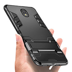 Silicone Matte Finish and Plastic Back Case with Finger Ring Stand A01 for Samsung Galaxy J3 (2018) SM-J377A Black