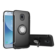Silicone Matte Finish and Plastic Back Case with Finger Ring Stand for Samsung Galaxy J5 (2017) SM-J750F Black