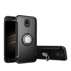 Silicone Matte Finish and Plastic Back Case with Finger Ring Stand for Samsung Galaxy J5 Pro (2017) J530Y Black