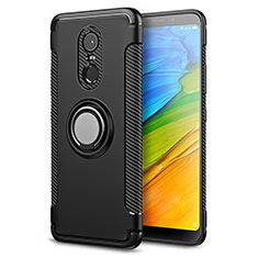 Silicone Matte Finish and Plastic Back Case with Finger Ring Stand for Xiaomi Redmi Note 5 Indian Version Black