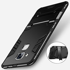 Silicone Matte Finish and Plastic Back Case with Stand for Huawei G9 Plus Black
