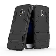 Silicone Matte Finish and Plastic Back Case with Stand for Samsung Galaxy J2 Pro (2018) J250F Black