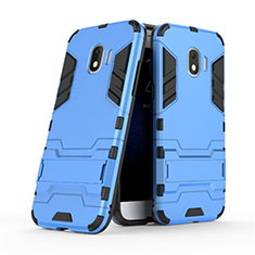 Silicone Matte Finish and Plastic Back Case with Stand for Samsung Galaxy J2 Pro (2018) J250F Blue