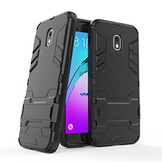Silicone Matte Finish and Plastic Back Case with Stand for Samsung Galaxy J3 Star Black