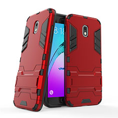 Silicone Matte Finish and Plastic Back Case with Stand for Samsung Galaxy J3 Star Red