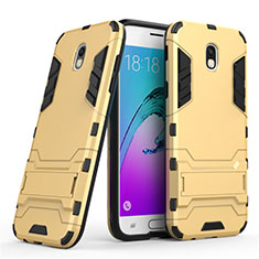 Silicone Matte Finish and Plastic Back Case with Stand for Samsung Galaxy J5 (2017) SM-J750F Gold
