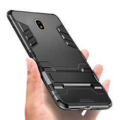 Silicone Matte Finish and Plastic Back Case with Stand for Samsung Galaxy J7 Pro Black