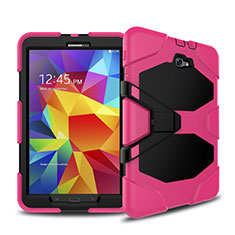 Silicone Matte Finish and Plastic Back Case with Stand for Samsung Galaxy Tab A6 10.1 SM-T580 SM-T585 Hot Pink
