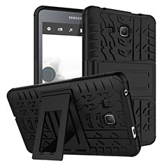 Silicone Matte Finish and Plastic Back Case with Stand for Samsung Galaxy Tab A6 7.0 SM-T280 SM-T285 Black