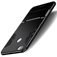 Silicone Matte Finish and Plastic Back Case with Stand for Xiaomi Redmi Note 5A Pro Black