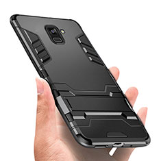 Silicone Matte Finish and Plastic Back Case with Stand W01 for Samsung Galaxy A8+ A8 Plus (2018) Duos A730F Black