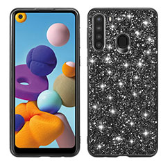 Silicone Matte Finish and Plastic Back Cover Case 360 Degrees Bling-Bling for Samsung Galaxy A21 Black