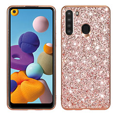 Silicone Matte Finish and Plastic Back Cover Case 360 Degrees Bling-Bling for Samsung Galaxy A21 Rose Gold