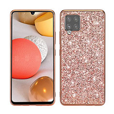 Silicone Matte Finish and Plastic Back Cover Case 360 Degrees Bling-Bling for Samsung Galaxy A42 5G Rose Gold