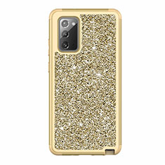 Silicone Matte Finish and Plastic Back Cover Case 360 Degrees Bling-Bling for Samsung Galaxy Note 20 5G Gold