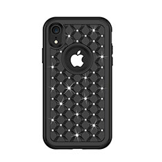 Silicone Matte Finish and Plastic Back Cover Case 360 Degrees Bling-Bling U01 for Apple iPhone XR Black
