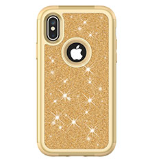 Silicone Matte Finish and Plastic Back Cover Case 360 Degrees Bling-Bling U01 for Apple iPhone Xs Max Gold