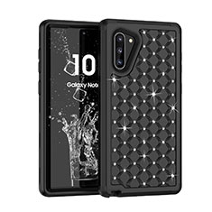 Silicone Matte Finish and Plastic Back Cover Case 360 Degrees Bling-Bling U01 for Samsung Galaxy Note 10 5G Black