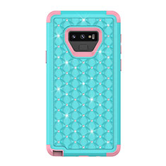 Silicone Matte Finish and Plastic Back Cover Case 360 Degrees Bling-Bling U01 for Samsung Galaxy Note 9 Cyan