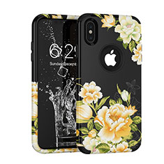 Silicone Matte Finish and Plastic Back Cover Case 360 Degrees for Apple iPhone Xs Black