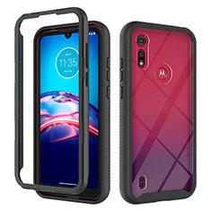 Silicone Matte Finish and Plastic Back Cover Case 360 Degrees for Motorola Moto E6s (2020) Black
