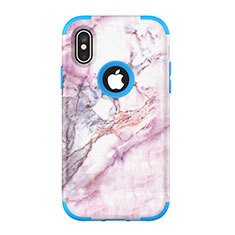 Silicone Matte Finish and Plastic Back Cover Case 360 Degrees U01 for Apple iPhone Xs Blue