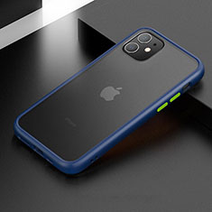 Silicone Matte Finish and Plastic Back Cover Case for Apple iPhone 11 Blue