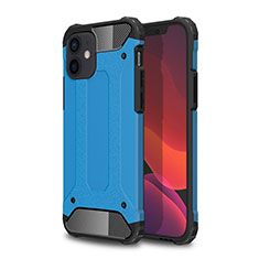 Silicone Matte Finish and Plastic Back Cover Case for Apple iPhone 12 Mini Sky Blue