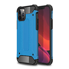 Silicone Matte Finish and Plastic Back Cover Case for Apple iPhone 12 Pro Max Sky Blue