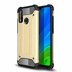 Silicone Matte Finish and Plastic Back Cover Case for Huawei P Smart (2020) Gold