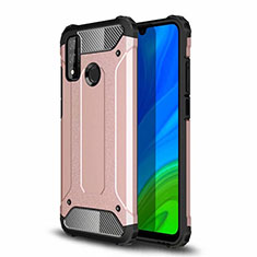 Silicone Matte Finish and Plastic Back Cover Case for Huawei P Smart (2020) Rose Gold