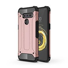 Silicone Matte Finish and Plastic Back Cover Case for LG V50 ThinQ 5G Rose Gold