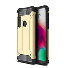 Silicone Matte Finish and Plastic Back Cover Case for Motorola Moto G8 Play Gold