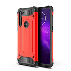 Silicone Matte Finish and Plastic Back Cover Case for Motorola Moto G8 Power Red