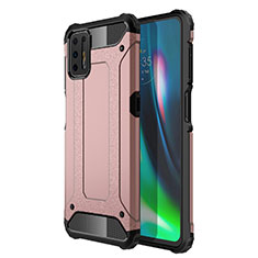 Silicone Matte Finish and Plastic Back Cover Case for Motorola Moto G9 Plus Rose Gold