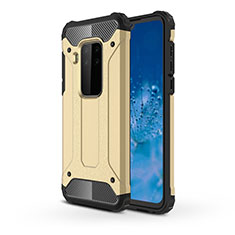Silicone Matte Finish and Plastic Back Cover Case for Motorola Moto One Zoom Gold
