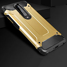 Silicone Matte Finish and Plastic Back Cover Case for OnePlus 8 Gold