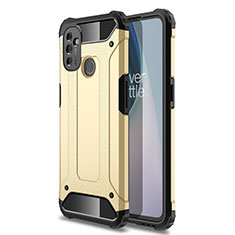 Silicone Matte Finish and Plastic Back Cover Case for OnePlus Nord N100 Gold